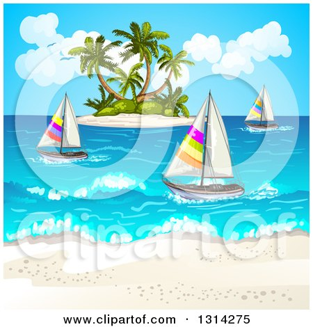 Clipart of a White Sand Beach with Sailboats and a Tropical Island - Royalty Free Vector Illustration by merlinul