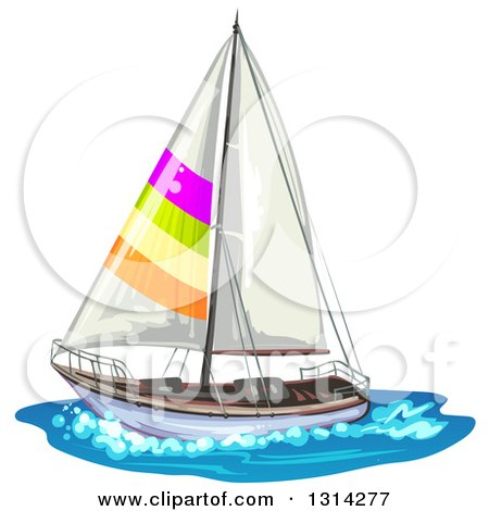 Clipart of a Sailboat with Colorful Stripes on Water - Royalty Free Vector Illustration by merlinul