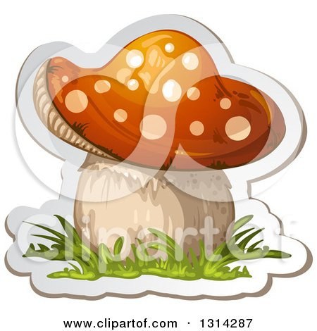 Clipart of a Sticker Styled Mushroom with Grass and a White Outline - Royalty Free Vector Illustration by merlinul