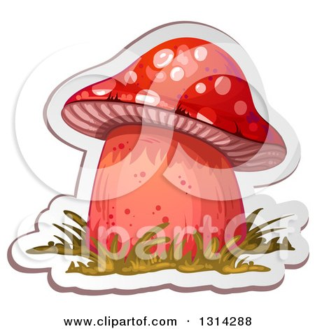 Clipart of a Sticker Styled Red Mushroom with Grass and a White Outline - Royalty Free Vector Illustration by merlinul
