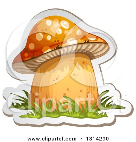 Clipart of a Sticker Styled Mushroom with Grass and a White Outline 2 - Royalty Free Vector Illustration by merlinul