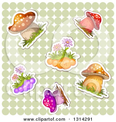 Clipart of Sticker Styled Mushrooms and Flowers with White Outlines over a Green Polka Dot Pattern - Royalty Free Vector Illustration by merlinul