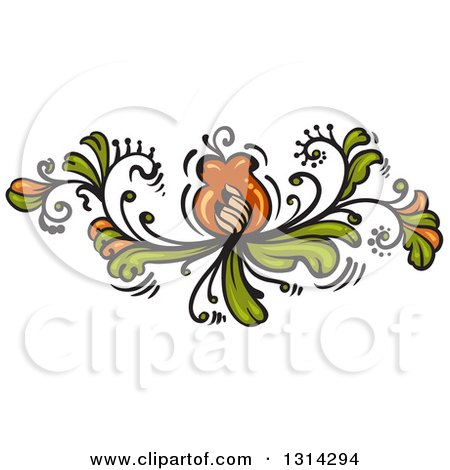 Clipart Of A Green And Brown Floral Design Element 2 Royalty Free Vector Illustration