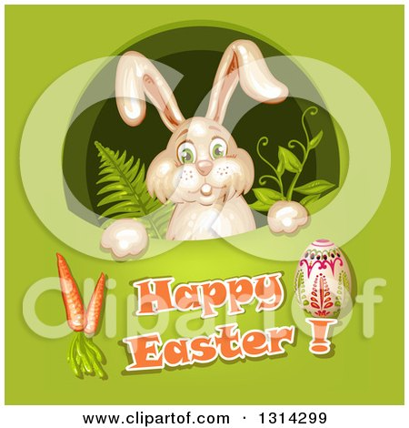 Clipart of a Bunny Rabbit Peeking Through a Hole with Ferns and Vines over Happy Easter Text, Cartots and an Egg on Green - Royalty Free Vector Illustration by merlinul