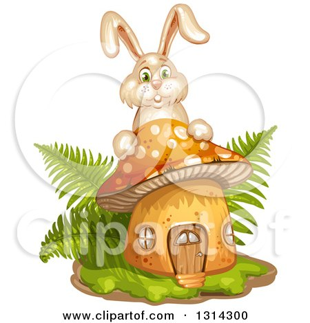 Clipart of a Mushroom with Grass, Ferns and a Bunny Rabbit - Royalty Free Vector Illustration by merlinul