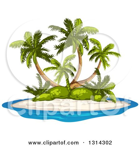 Clipart of a Tropical Island with Palm Trees and White Sand - Royalty Free Vector Illustration by merlinul
