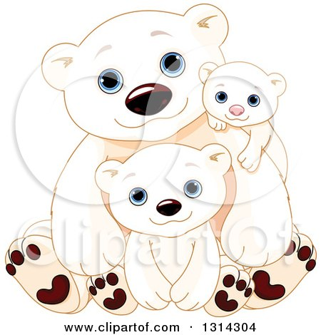 Clipart of a Cute Fathers Day Polar Bear Dad with Cubs - Royalty Free Vector Illustration by Pushkin