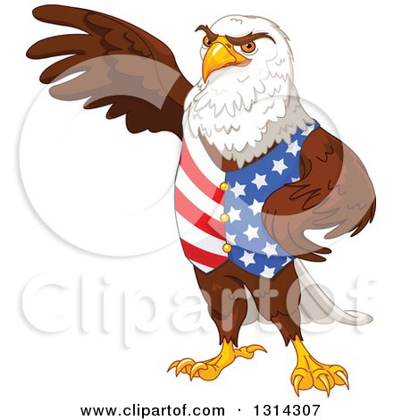 Clipart of a Handsome Patriotic Bald Eagle Wearing an American Vest and Presenting - Royalty Free Vector Illustration by Pushkin