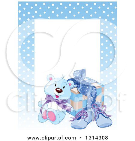 Clipart of a Baby Boy Teddy Bear, Shoes and Gift with Text Space and a Border of Polka Dots on Blue - Royalty Free Vector Illustration by Pushkin