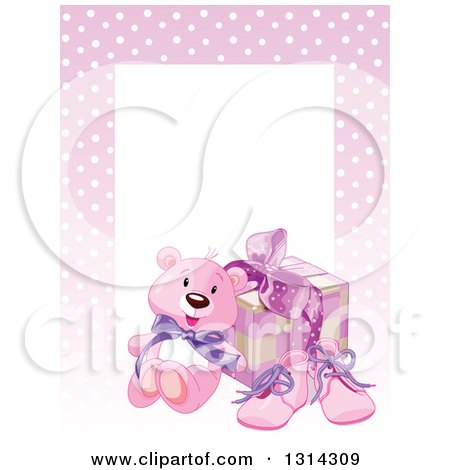 Clipart of a Baby Girl Teddy Bear, Shoes and Gift with Text Space and a Border of Polka Dots on Pink - Royalty Free Vector Illustration by Pushkin