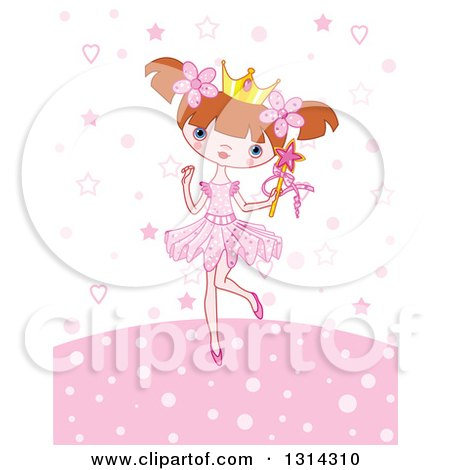 Clipart of a Cartoon Brunette White Princess Girl Holding a Wand over Pink Stars, Dots and Hearts - Royalty Free Vector Illustration by Pushkin