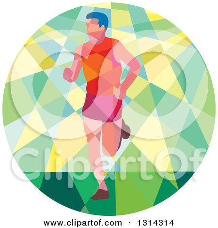 Clipart of a Retro Geometric Low Poly Male Marathon Runner in a Green and Yellow Circle - Royalty Free Vector Illustration by patrimonio