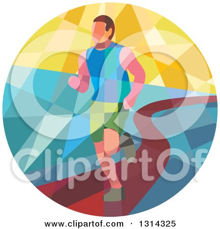 Clipart of a Retro Geometric Low Poly Male Marathon Runner on a Path in a Circle - Royalty Free Vector Illustration by patrimonio