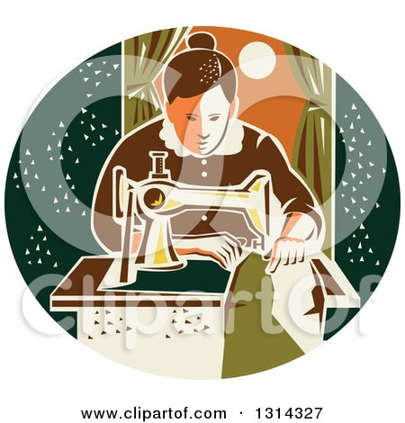Retro Seamstress Woman Sewing with a Machine by a Window in a Dark Green Oval Posters, Art Prints