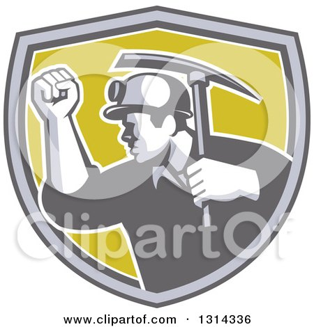 Clipart of a Retro Male Coal Miner Holding up a Fist and a Pickaxe in a Gray White and Green Shield - Royalty Free Vector Illustration by patrimonio