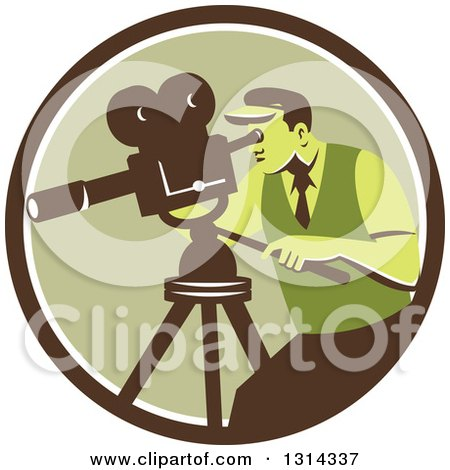 Clipart of a Retro Movie Maker Camera Man Working with a Tripod in a Brown White and Green Circle - Royalty Free Vector Illustration by patrimonio