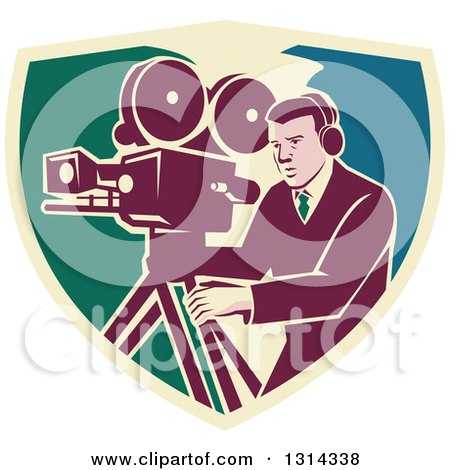 Clipart of a Retro Movie Maker Camera Man Working with a Tripod in a Shield - Royalty Free Vector Illustration by patrimonio