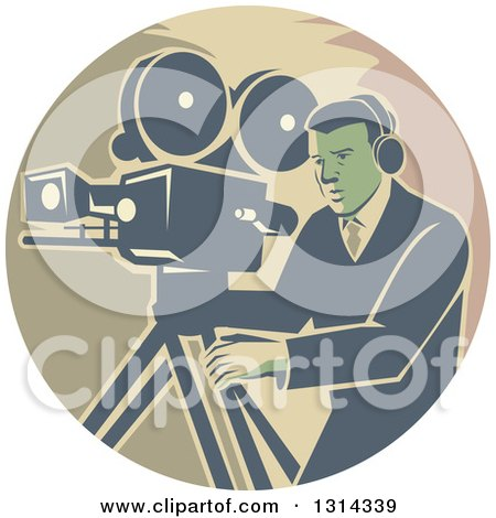 Clipart of a Retro Movie Maker Camera Man Working with a Tripod in a Circle - Royalty Free Vector Illustration by patrimonio