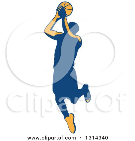 Clipart of a Retro Male Basketball Player Doing a Jump Shot 5 - Royalty Free Vector Illustration by patrimonio