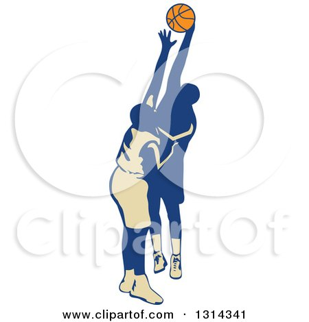 Clipart of a Retro Male Basketball Player Trying to Make a Shot and Being Blocked - Royalty Free Vector Illustration by patrimonio