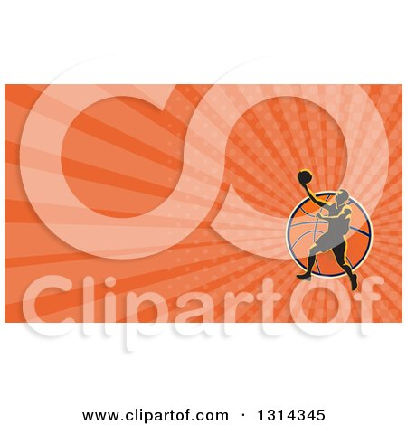 Clipart of a Retro Basketball Player Performing a Layup over a Ball and Orange Rays Background or Business Card Design - Royalty Free Illustration by patrimonio