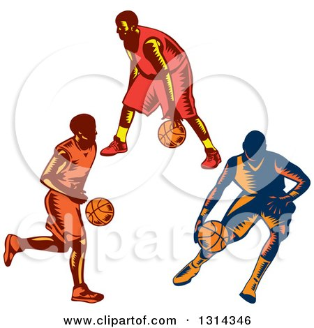 Clipart of Retro Woodcut Male Basketball Players Dribbling - Royalty Free Vector Illustration by patrimonio