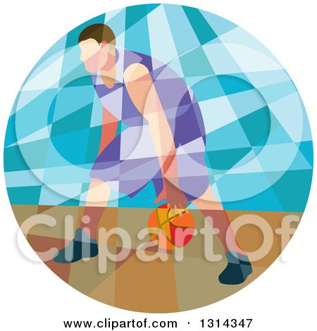 Clipart of a Retro Low Poly White Male Basketball Player Dribbling in a Circle - Royalty Free Vector Illustration by patrimonio