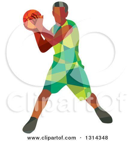Clipart of a Retro Low Poly Black Male Basketball Player Holding the Ball - Royalty Free Vector Illustration by patrimonio