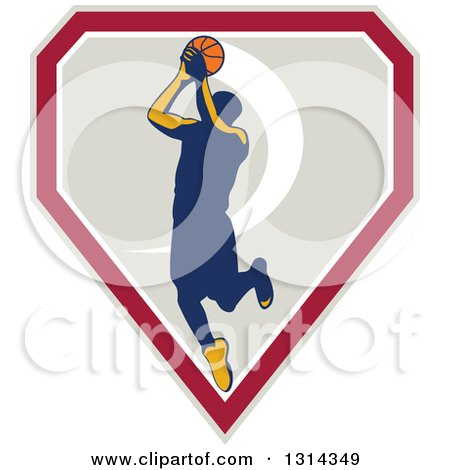 Clipart of a Retro Male Basketball Player Doing a Jump Shot in a Shield - Royalty Free Vector Illustration by patrimonio