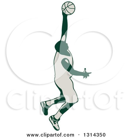 Clipart of a Retro Male Basketball Player Doing a Jump Shot - Royalty Free Vector Illustration by patrimonio