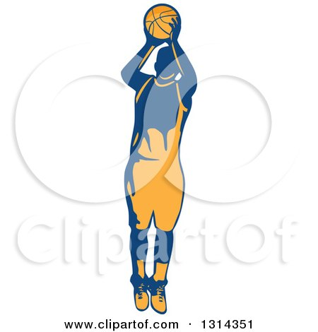 Clipart of a Retro Male Basketball Player Doing a Jump Shot 2 - Royalty Free Vector Illustration by patrimonio
