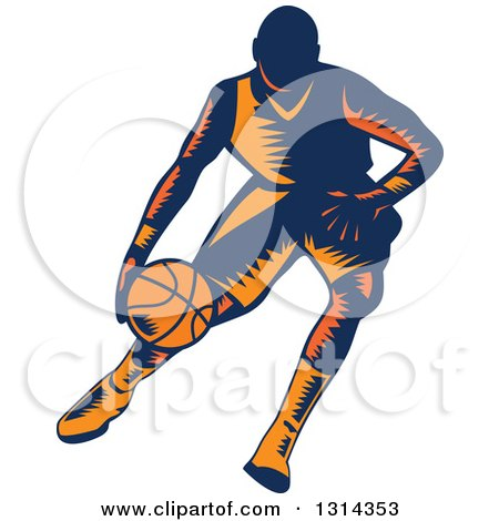 Clipart of a Retro Woodcut Male Basketball Player Dribbling 4 - Royalty Free Vector Illustration by patrimonio