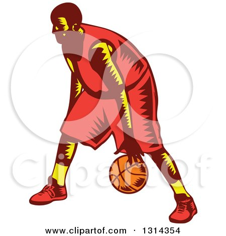 Clipart of a Retro Woodcut Male Basketball Player Dribbling 3 - Royalty Free Vector Illustration by patrimonio