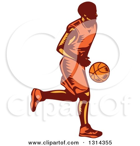 Clipart of a Retro Woodcut Male Basketball Player Dribbling 2 - Royalty Free Vector Illustration by patrimonio