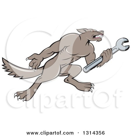 Clipart of a Cartoon Wolf Mechanic Mascot Facing Right and Holding a Wrench - Royalty Free Vector Illustration by patrimonio