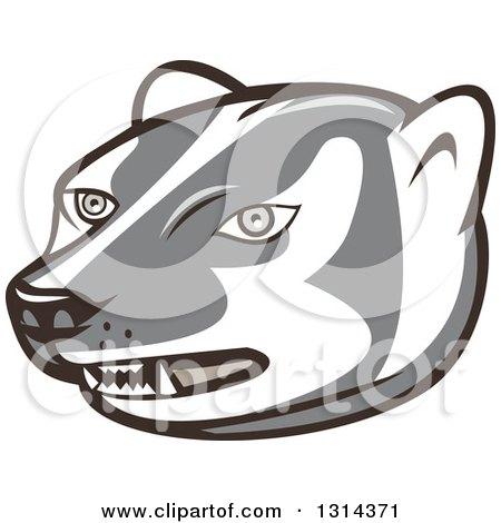 Clipart of a Cartoon Honey Badger Mascot Head - Royalty Free Vector Illustration by patrimonio