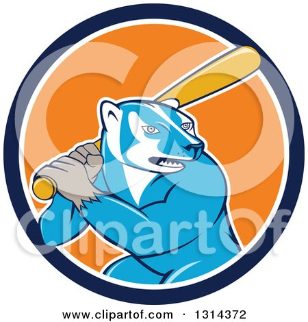 Clipart of a Cartoon Honey Badger Baseball Mascot Batting in a Blue White and Orange Circle - Royalty Free Vector Illustration by patrimonio