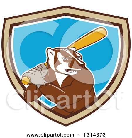 Clipart of a Cartoon Honey Badger Baseball Mascot Batting in a Brown Tan White and Blue Shield - Royalty Free Vector Illustration by patrimonio