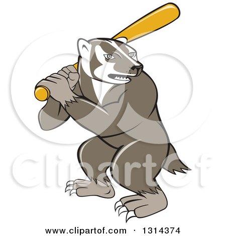 Clipart of a Cartoon Honey Badger Baseball Mascot Batting - Royalty Free Vector Illustration by patrimonio