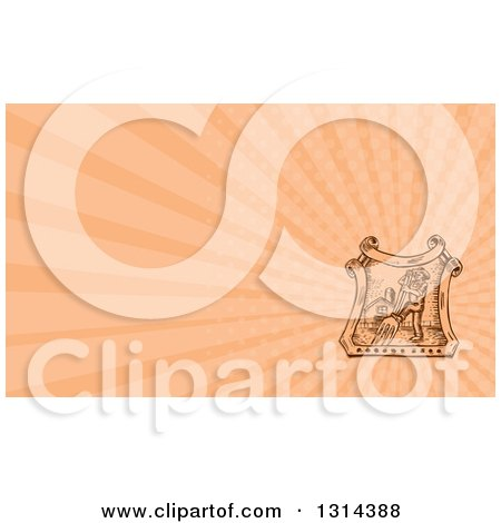Clipart of a Retro Sketched or Engraved Male Farmer Using a Giant Fork in a Crest with a Barn and Salmon Pink Rays Background or Business Card Design - Royalty Free Illustration by patrimonio
