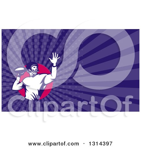 Clipart of a Retro Male American Football Player Throwing and Purple Rays Background or Business Card Design - Royalty Free Illustration by patrimonio