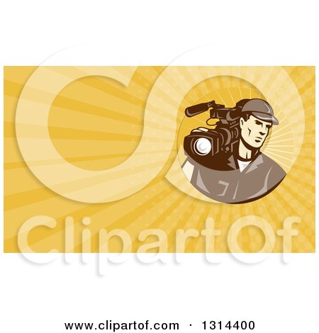 Clipart of a Retro Brown Toned Cameraman and Yellow Rays Background or Business Card Design - Royalty Free Illustration by patrimonio
