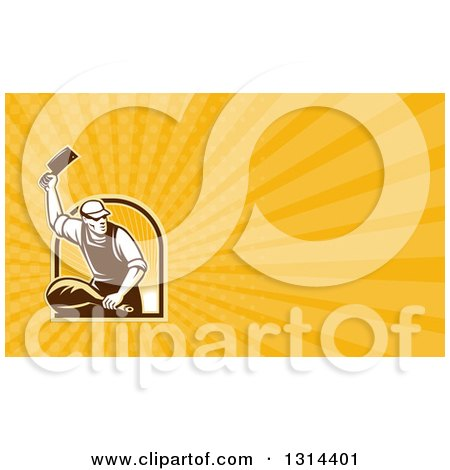 Clipart of a Retro Male Butcher Chopping Leg Meat and Yellow Rays Background or Business Card Design - Royalty Free Illustration by patrimonio