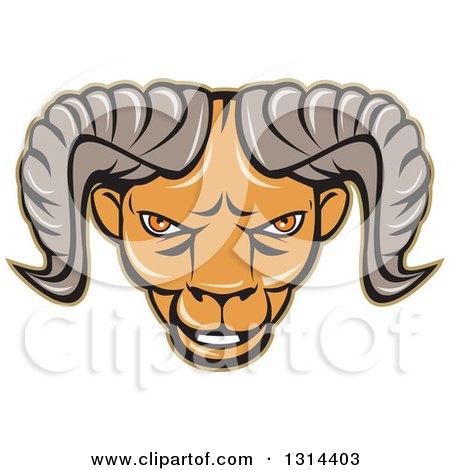 Clipart of a Cartoon Tough Ram Head - Royalty Free Vector Illustration by patrimonio
