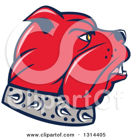 Clipart of a Cartoon Red Bulldog Head in Profile, Facing Right - Royalty Free Vector Illustration by patrimonio