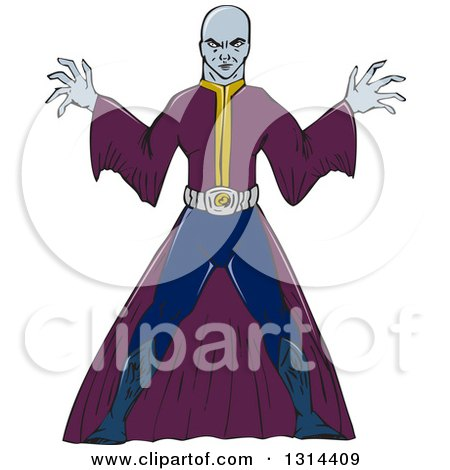 Clipart of a Cartoon Bald Sorcerer Casting a Spell - Royalty Free Vector Illustration by patrimonio