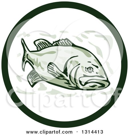 Clipart of a Cartoon Largemouth Bass Fish in a Circle - Royalty Free Vector Illustration by patrimonio