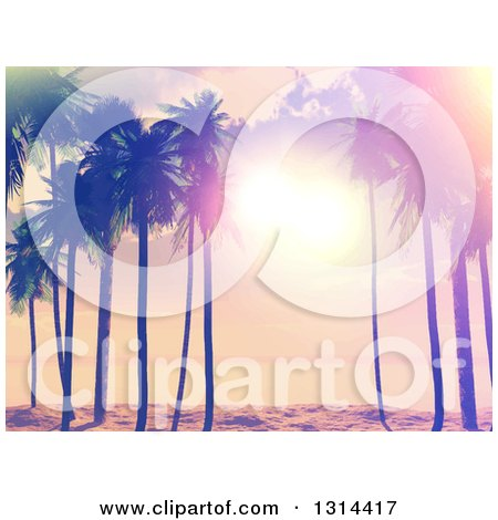 Clipart of a Retro Lit Tropical Beach Sunset with Palm Trees, Painted Style - Royalty Free Vector Illustration by KJ Pargeter