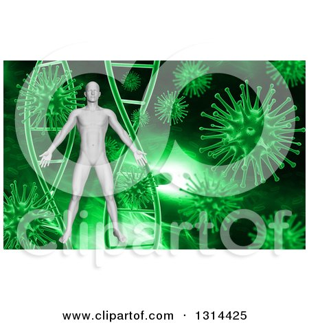 Clipart of a 3d Medical Anatomical Male over a Green Dna and Virus Background - Royalty Free Illustration by KJ Pargeter