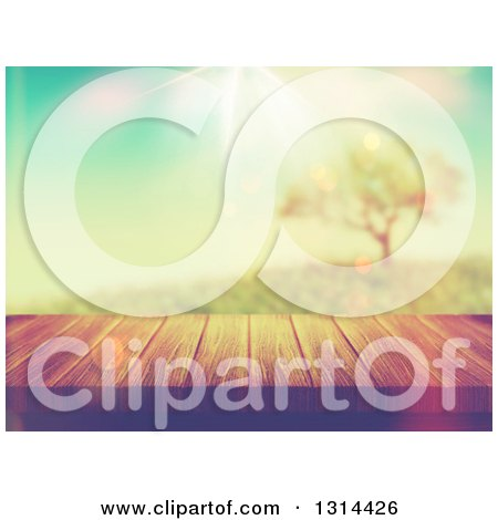 Clipart of a 3d Wood Deck or Table with a View of a Tree on a Hill with Vintage Lighting - Royalty Free Illustration by KJ Pargeter